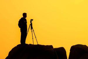 fotografi, lanskap, fajar, matahari terbenam, backlit, siluet, fotografer, senja